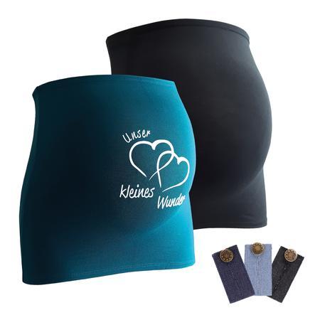 mamaband Belly band 2-pack Nuestro pequeño milagro + 3-pack pantalones de extensión negro/ petrol
