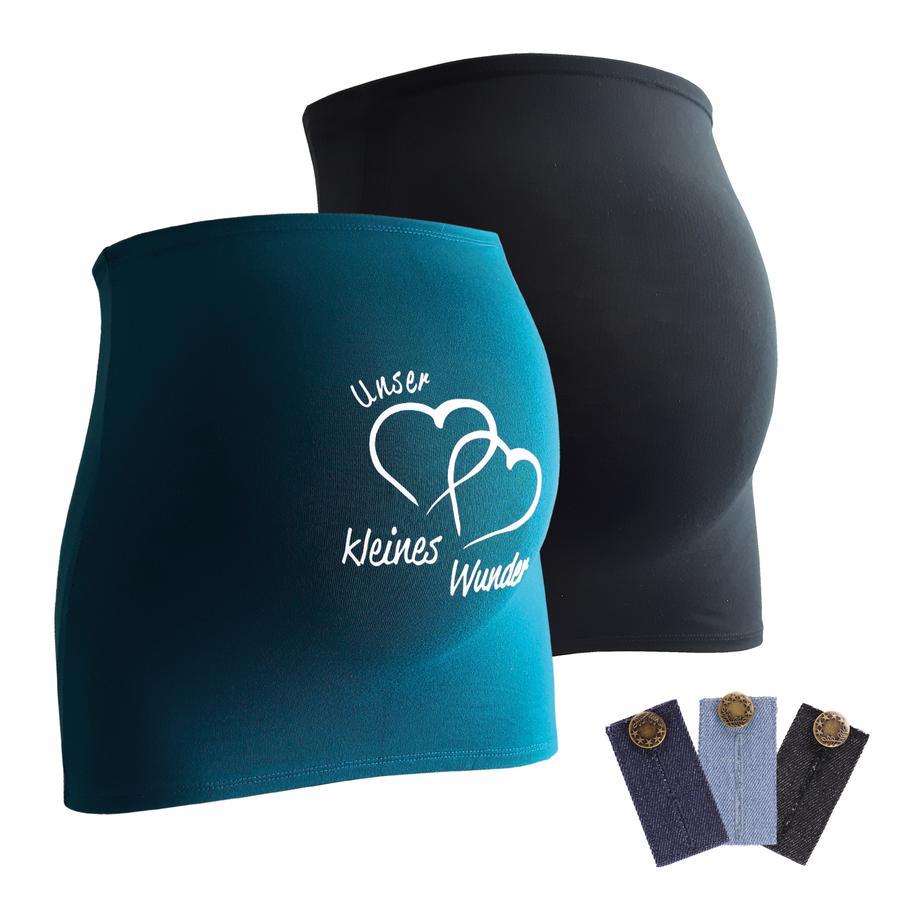 mamaband Ceinture de grossesse notre miracle noir/bleu pétrole lot de 2, extension pantalon lot de 3