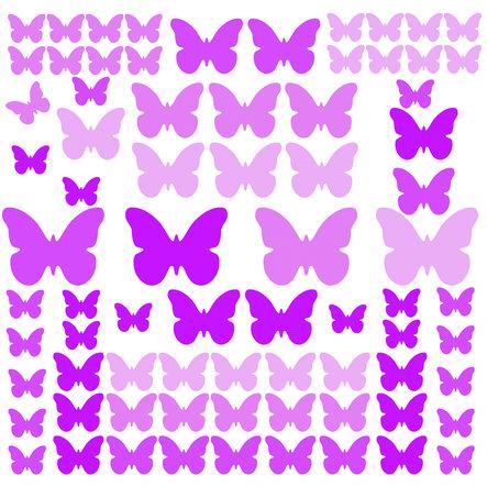 RoomMates-seinätarrat - perhoset vaaleanpunainen