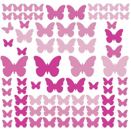 RoomMates vægklistermærker - sommerfugle lyserøde