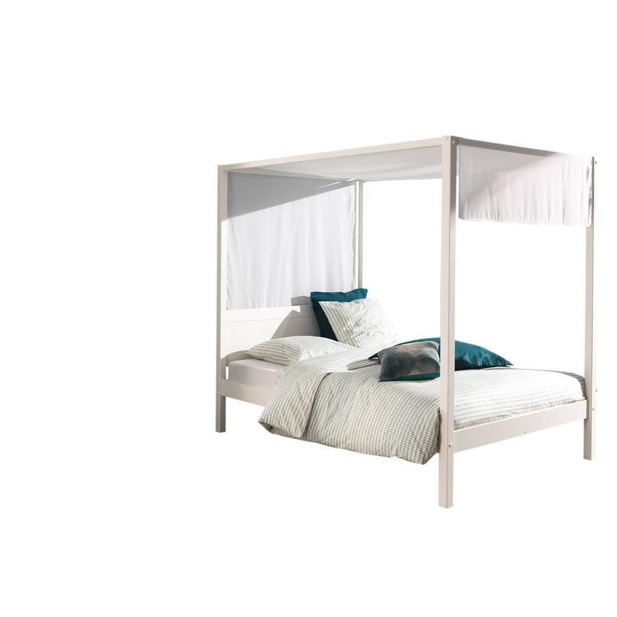 VIPACK postel s nebesy 140 x 200 cm bílá