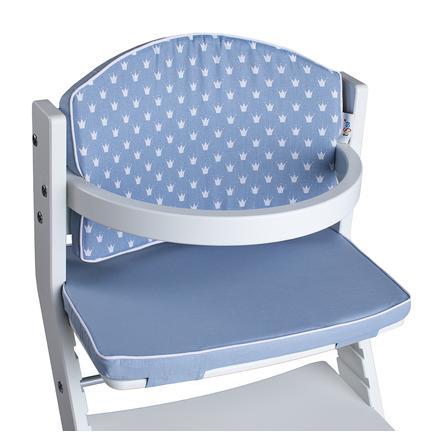 tiSsi® Coussin réducteur de chaise haute enfant couronnes bleu