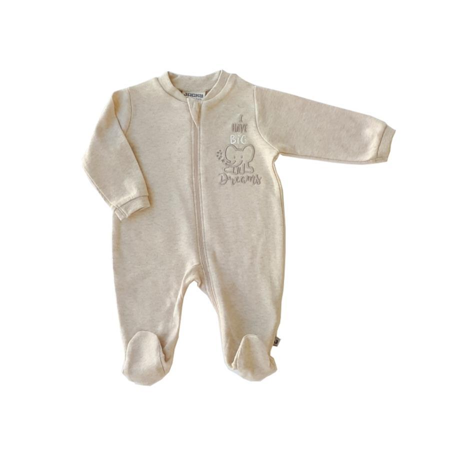 JACKY Pijamas 1pc. Cotton beige-melange orgánico