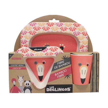 LES DEGLINGOS® Kit vaisselle enfant 3 pièces Flamingos le flamant rose, fibres bambou