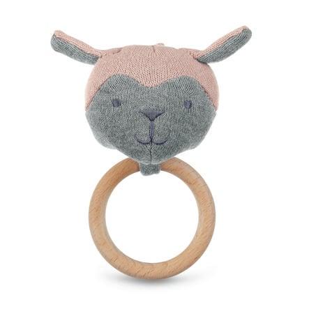 Sterntaler Figura de juguete de punto con anillo de agarre rosa