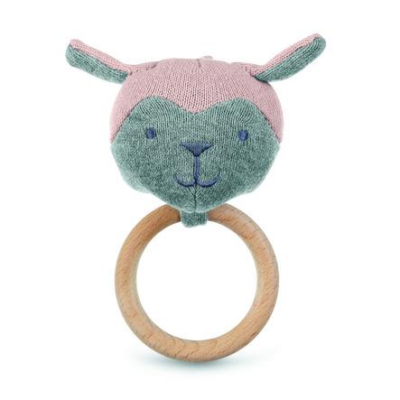 Sterntaler Figurine en tricot avec anneau de préhension rose