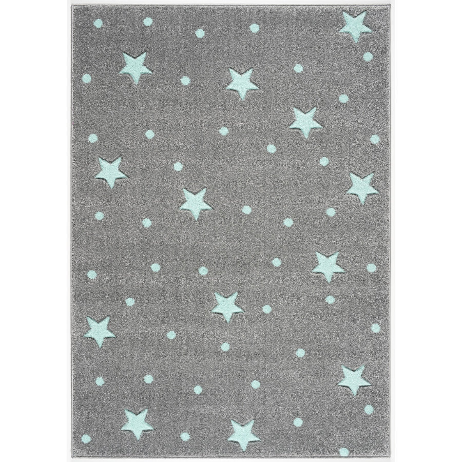 LIVONE lek og barneteppe Kids Love Rugs silver Heaven grey / mint, 160 x 220 cm