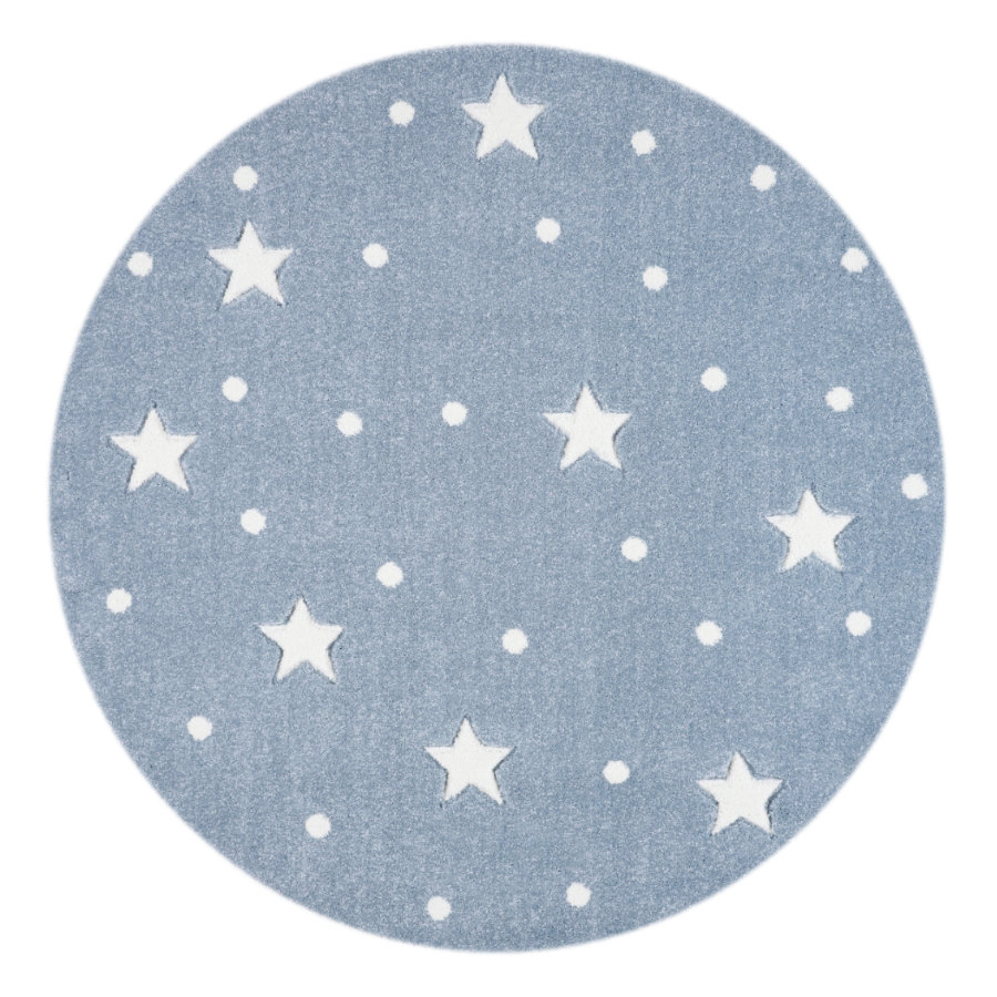 LIVONE Spiel- und Kinderteppich Kids Love Rugs Heaven rund blau/weiss, 133 cm