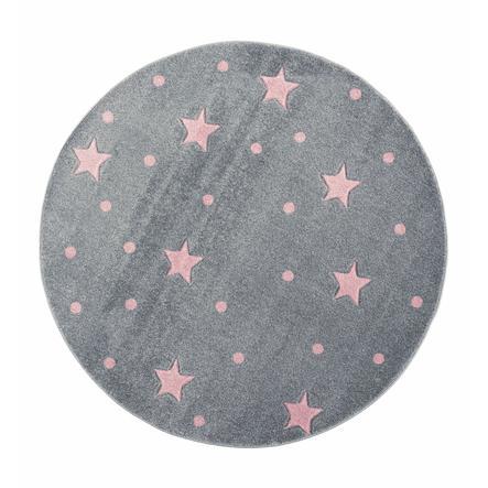 LIVONE play a dětský koberec Kids Love Rugs Heaven kulaté stříbro-šedé / růžové, 133 cm