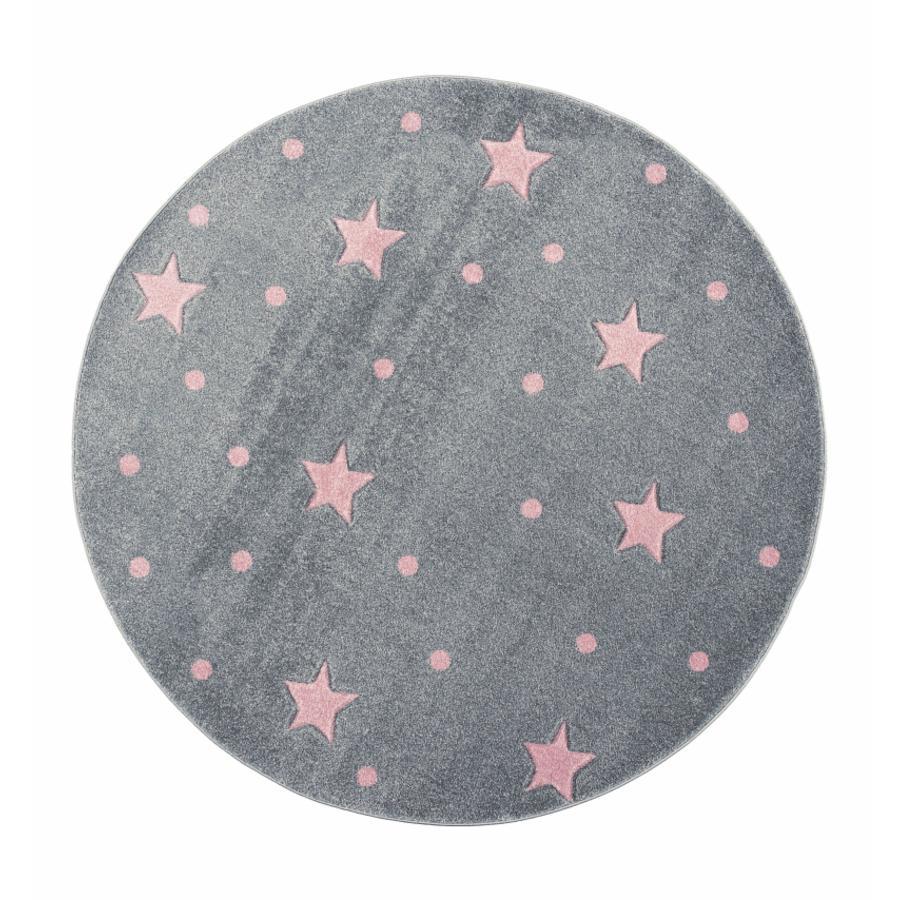 LIVONE gioco e tappeto per bambini Kids Love Rugs Heaven rotondo grigio-argento/rosa, 133 cm
