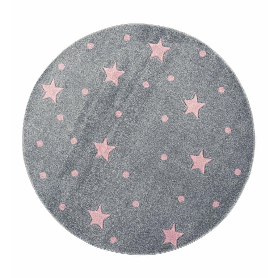 LIVONE Tapijt Kids Love Rugs Heaven rond zilvergrijs/roze 133 cm
