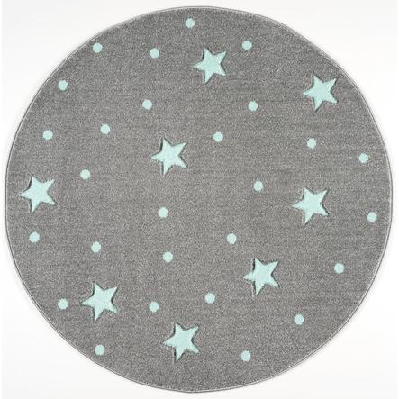 LIVONE Tapis enfant Kids Love Rugs Heaven rond gris argenté/menthe 133 cm