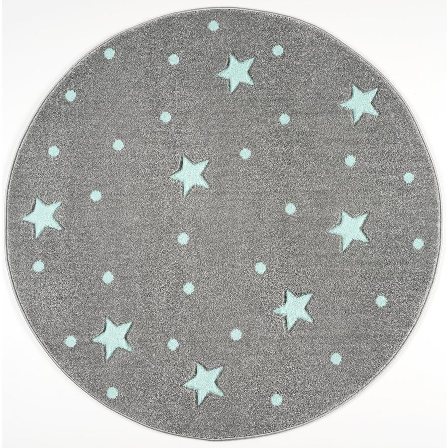 LIVONE play a dětský koberec Kids Love Rugs Heaven, stříbrně šedá / máta, 133 cm