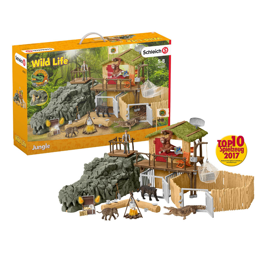 Schleich Figurine station de recherche croco à la jungle 42350