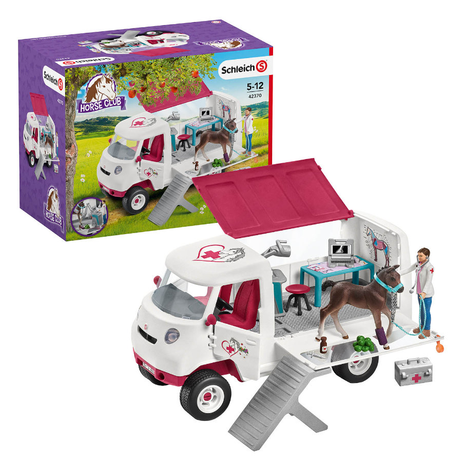 Schleich Vehículo móvil veterinario con potrillo de Hannover 42370