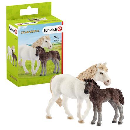 Schleich Pony Stute und Fohlen 42423