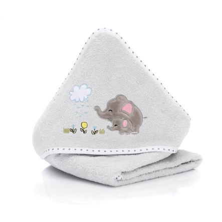 fillikid Hættebadehåndklæde elefantgrå 75x75 cm