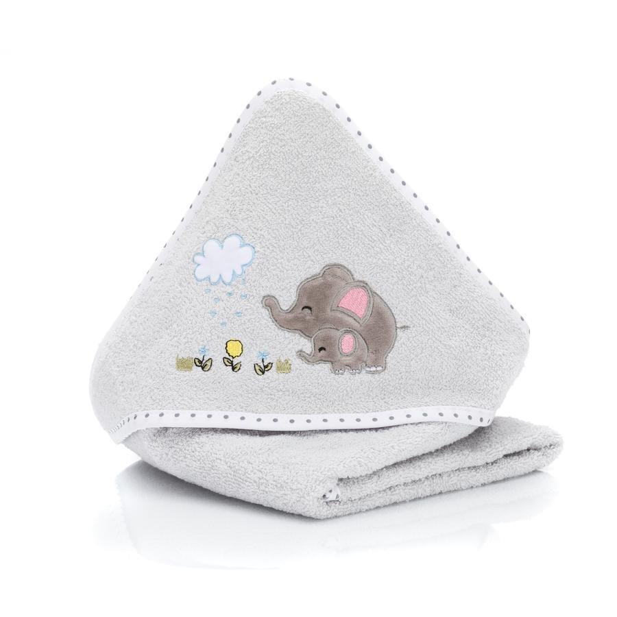 fillikid Handdoek met capuchon Olifant grijs 75x75 cm