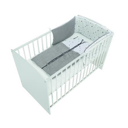 Schardt Komplettbett Classic White Sternchen grau inklusive Schlafsack 60 cm x 120 cm