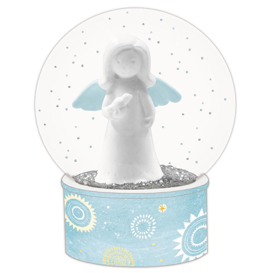 COPPENRATH Błyszcząca szklana kulka Anioł stróż z diodą LED
