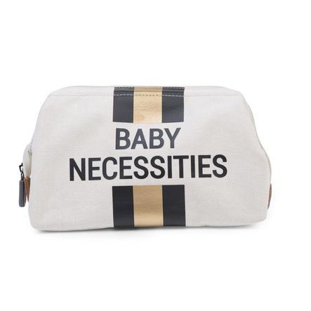 CHILDHOME Baby Necessities Kulturbeutel cremeweiß Streifen schwarz/gold