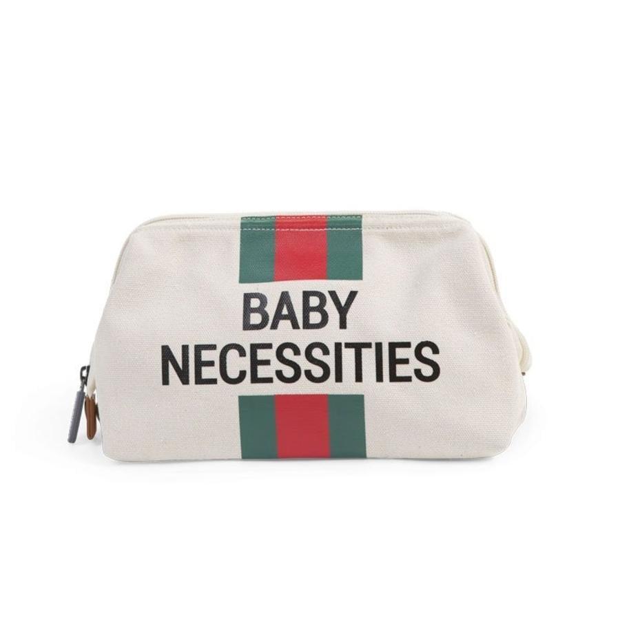 CHILDHOME Baby Necessities Kulturbeutel cremeweiß Streifen grün/rot