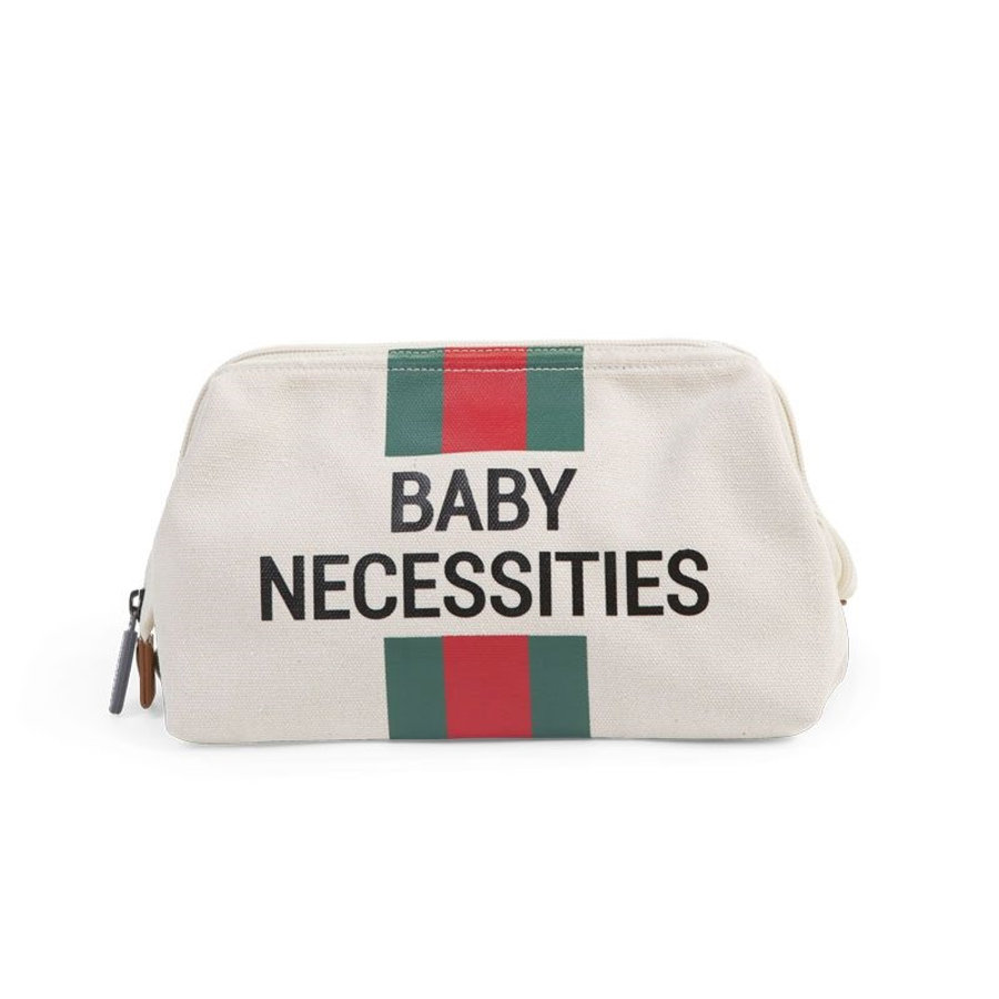 CHILDHOME Toilettilaukku Baby Necessities kermanvalkea punaviherraidallinen