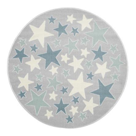 LIVONE Barnmatta Happy Rugs Stella silvergrå/blå, rund, 133 cm