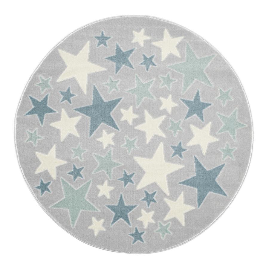 LIVONE Spiel- und Kinderteppich Happy Rugs Stella silbergrau/blau, rund, 133 cm