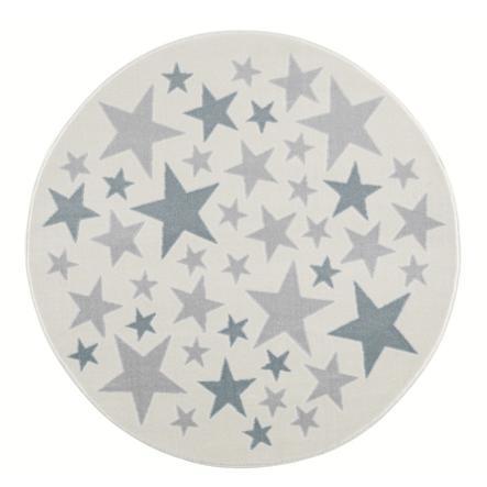 LIVONE Barnmatta Happy Rugs Stella creme/silvergrå/blå, rund 133 cm