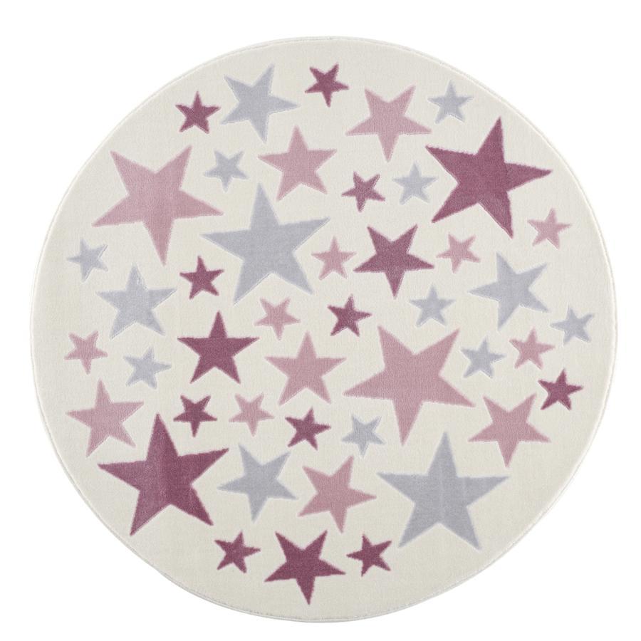LIVONE lek og barneteppe Happy Rugs Stella krem ??/ sølvgrå / rosa, rund 160 cm