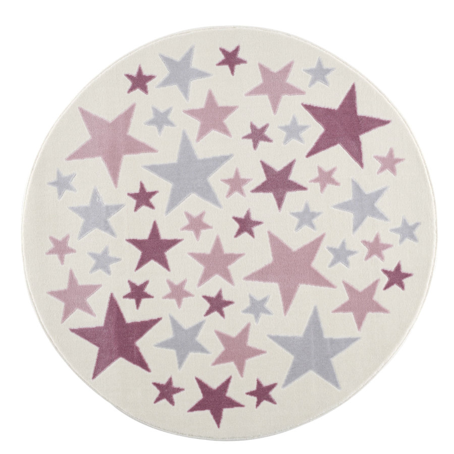 LIVONE Tapijt Happy Rugs Stella creme/zilvergrijs/roze rond 160 cm