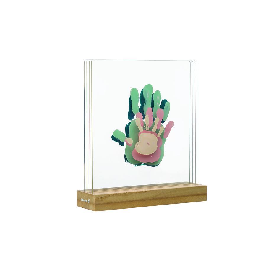 Baby kunst, billedramme, familietryk - Superposed håndtryk, (Plexi hvid