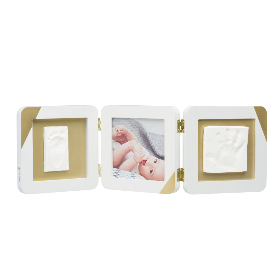 Baby Art Bilderrahmen mit Abdruck - My Baby Touch Gold dipped white Double Print Frame
