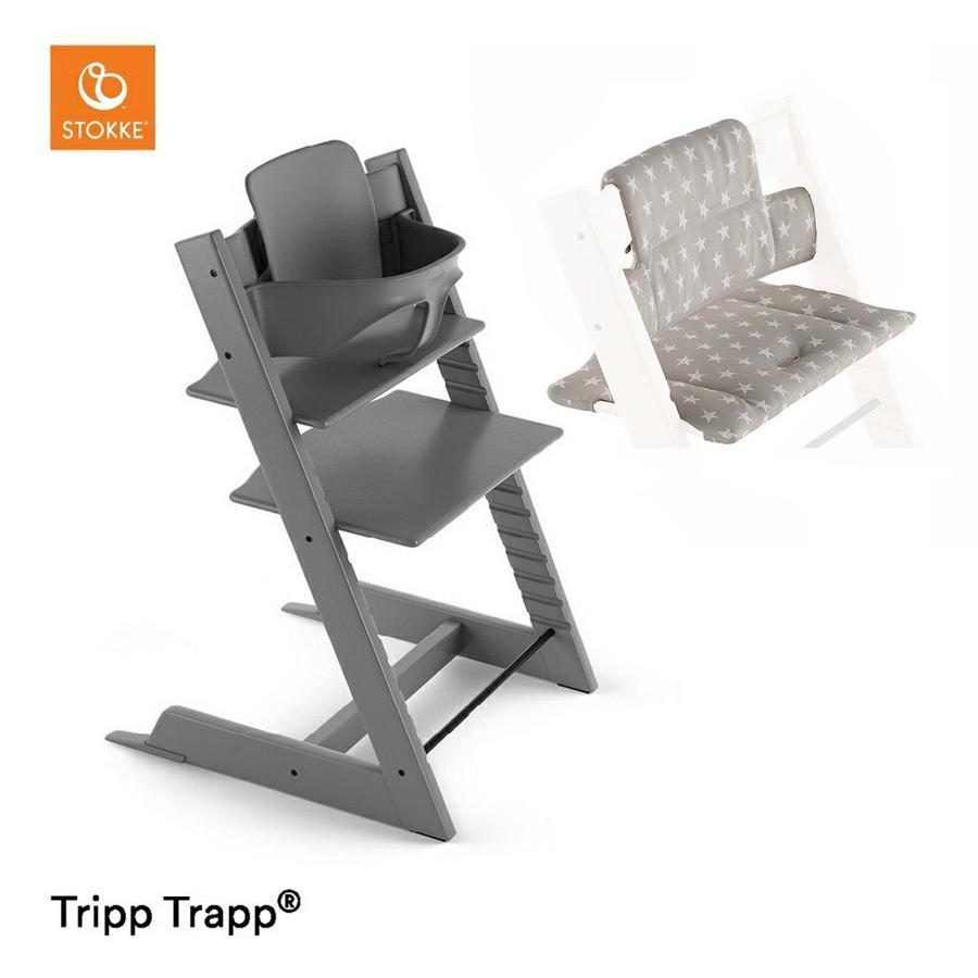 STOKKE® Tripp Trapp® Hochstuhl Buche Storm Grey inkl. Sitzkissen Grey Star + Gratis Tripp Trapp® Baby Set Storm Grey