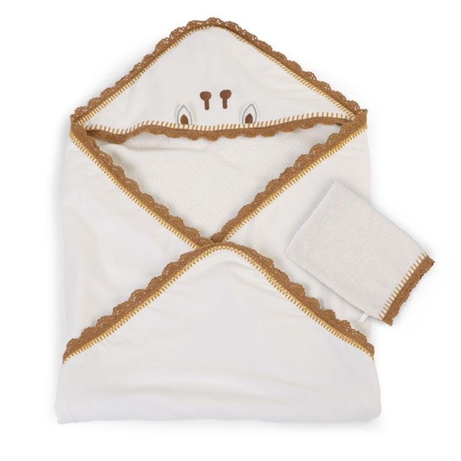 CHILDHOME Handdoek incl. Washandje Crochet Ecru