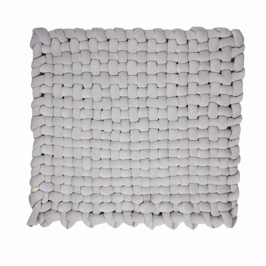 LULANDO geflochtene Matte Zopf Velvet grey 140x140 cm