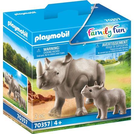 PLAYMOBIL® Figurine rhinocéros et son petit Family Fun 70357