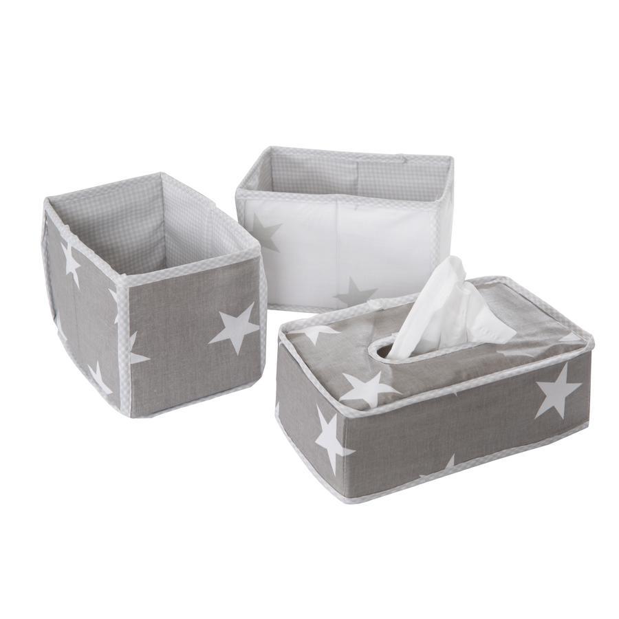 roba Boîtes de rangement pour lange Little Stars gris, 3 pièces