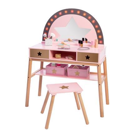 MUSTERKIND® Tocador de maquillaje de juguete Malva, rosa/oro