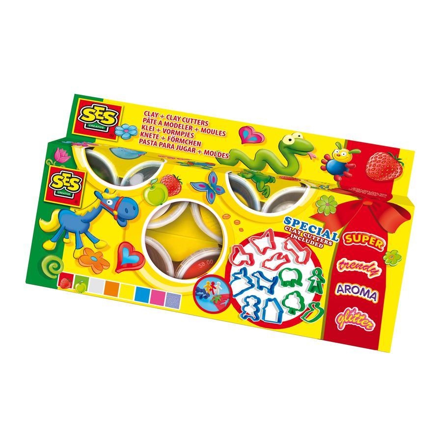 SES CREATIVE Super Dough Muovailuvahasetti, 8 väriä
