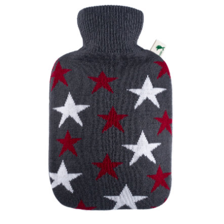HUGO FROSCH Bottiglia acqua calda classica 1,8 L in maglia a stelle bordeaux