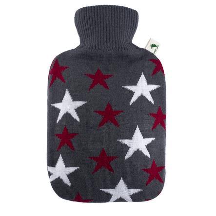 HUGO FROSCH Bouillotte enfant classique 1,8 l housse tricotée étoiles bordeaux