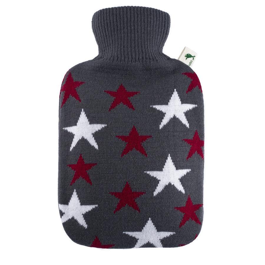 HUGO FROSCH Botella de agua caliente clásica de 1,8 L de punto estrellas de Burdeos