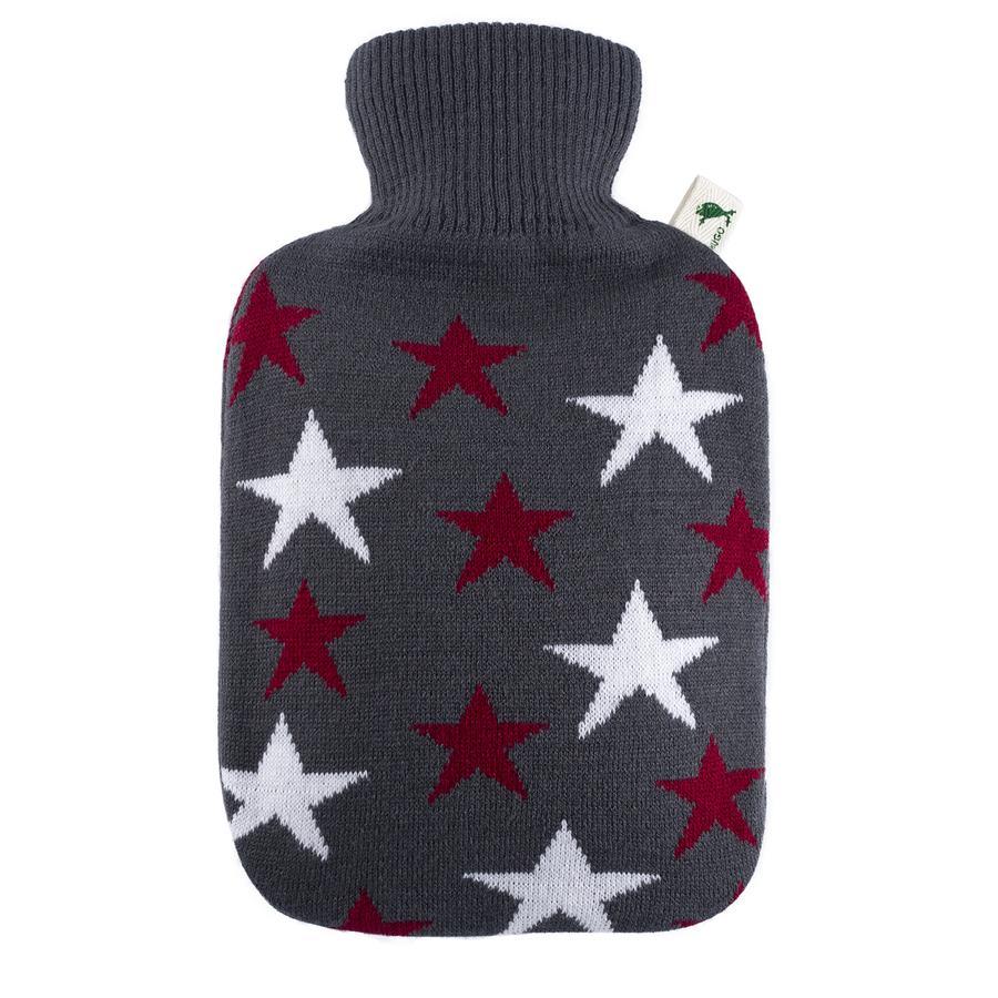 HUGO FROSCH Wärmflasche Klassik 1.8 L Strick Sterne bordeaux