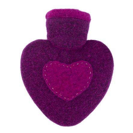 HUGO FROSCH Wärmflasche Herz 1.0 L Strickbezug Himbeere