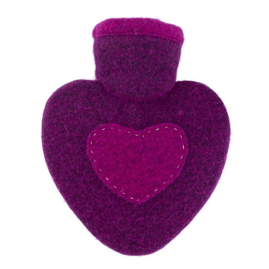 HUGO FROSCH Botella de agua caliente corazón 1.0 L cubierta de punto frambuesa