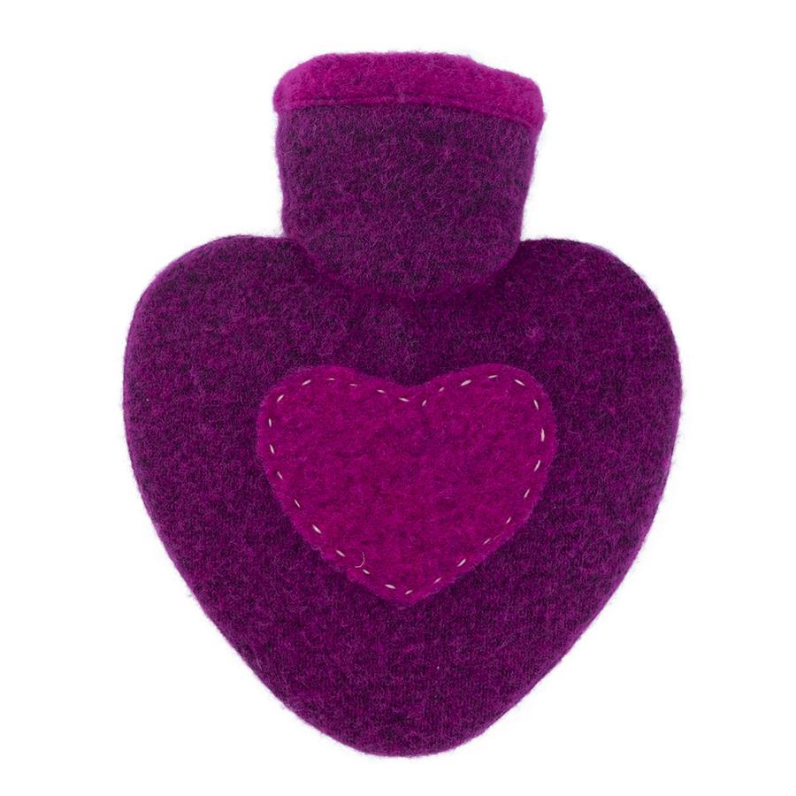HUGO FROSCH Bottiglia acqua calda bottiglia cuore 1,0 L maglia copertura in maglia lampone