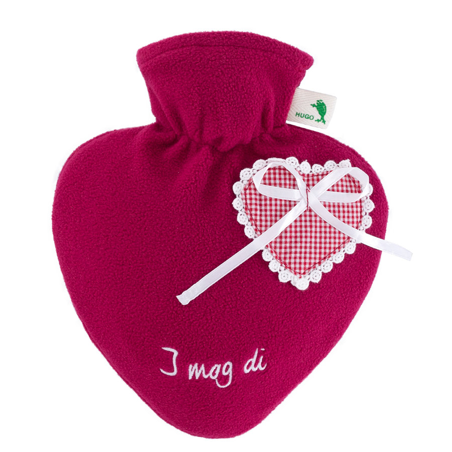 HUGO FROSCH Varmtvannsflaske Heart 1.0 L Fleece deksel rød I MOG DI