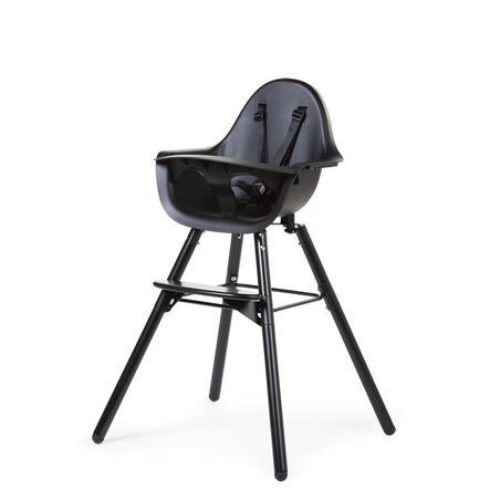 CHILDHOME Chaise haute évolutive Evolu 2 2en1 bois noir/noir, arceau
